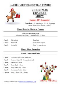 Christmas Show Schedule - show jumping and obstacle course