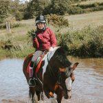 Horse & rider going through water complex