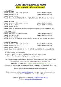 Summer Dressage League Schedule